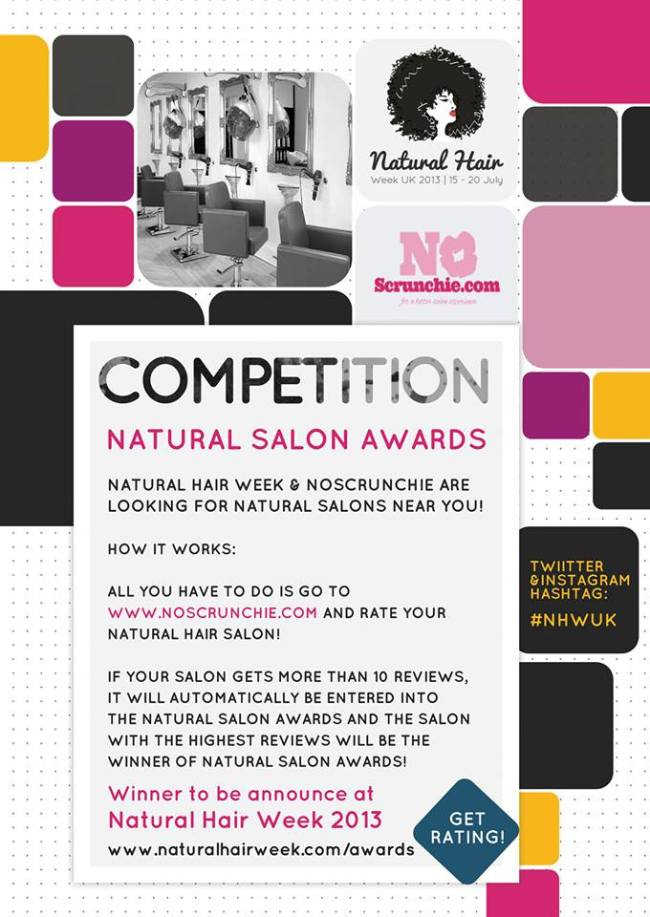 Natural Salon Awards in conjunction with Natural Hair Week UK & NoScrunchie.com
